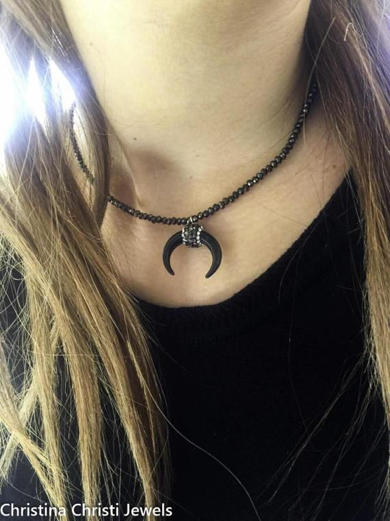 Upside Down Crescent Moon Horn Necklace, Double Horn Necklace, Half Moon Necklace, Moon Pendant, Women's Jewelry, Made in Greece.