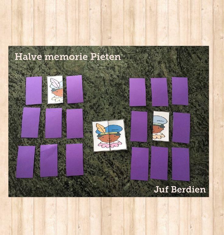 Juf Berdien Memory Halve Pieten spel Sinterklaas kleuters