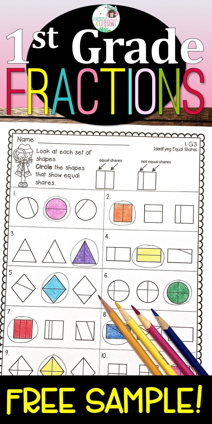 Free First Grade Math Practice Worksheets Free Printable Math Worksheets Fractions Fractions Worksheets