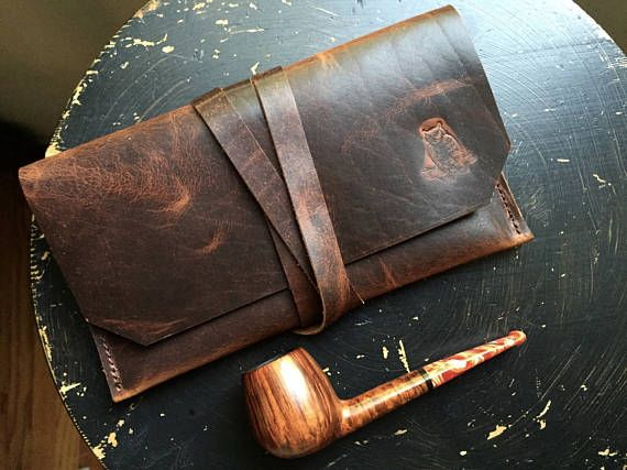 Ready to Ship  Pipe Pouch  Bison Leather  Rustic Pipe