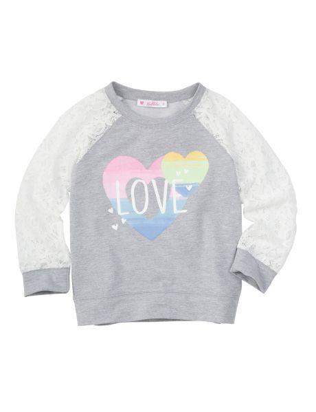 This sweater has a 'Love' and heart print on the front with lace sleeves. #newandnow