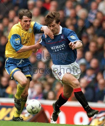 Rangers 2 St Johnstone 1 in March 1998 at Ibrox. Brian Laudrup takes on Jim Weir #SPL