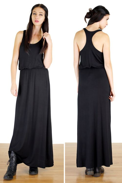LADIES BLACK MAXI DRESS SIZE: L WAS:$40.00 NOW:$21.00  or 4 payments of $5.25 with Afterpay