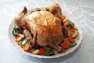жареная курица, жареный рис, курица-гриль
