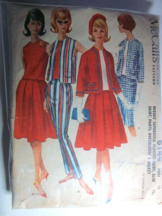 Vintage 1960s McCalls 6144 Skirt Pants Blouse by Denisecraft, $8.99
