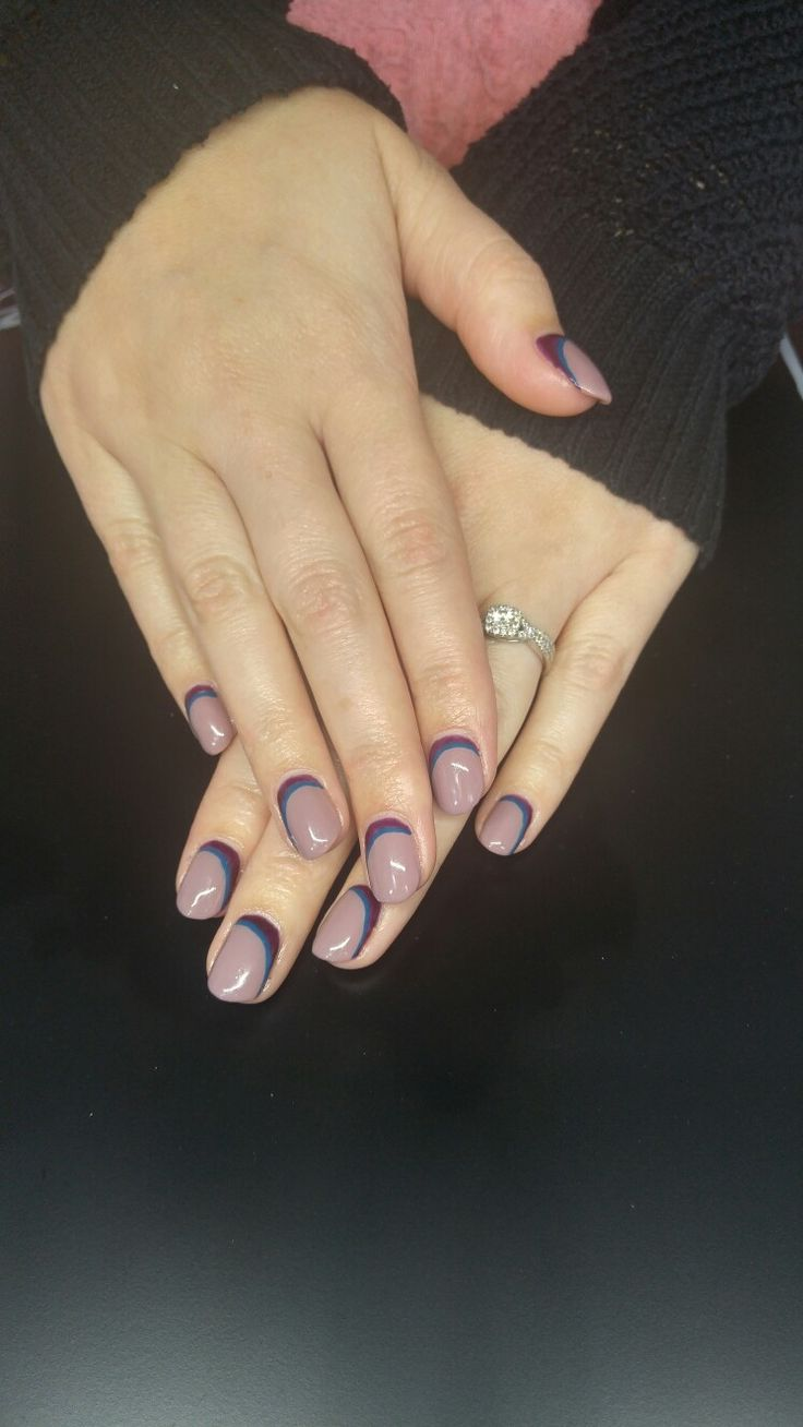 Mauve blue and purple fall nail!