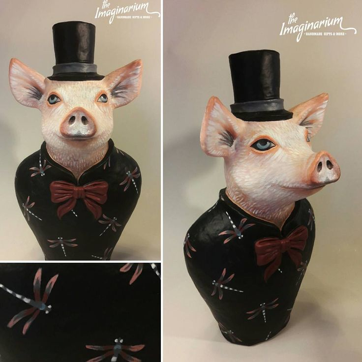 """31 """"Μου αρέσει!"""", 1 σχόλια - The Imaginarium (@theimaginariumkos) στο Instagram: """"""""Mr pig""""!!!Handmade paper mache sculpture-custom made order! ⚘#handmade #handmadeart #paperclay…"""""""