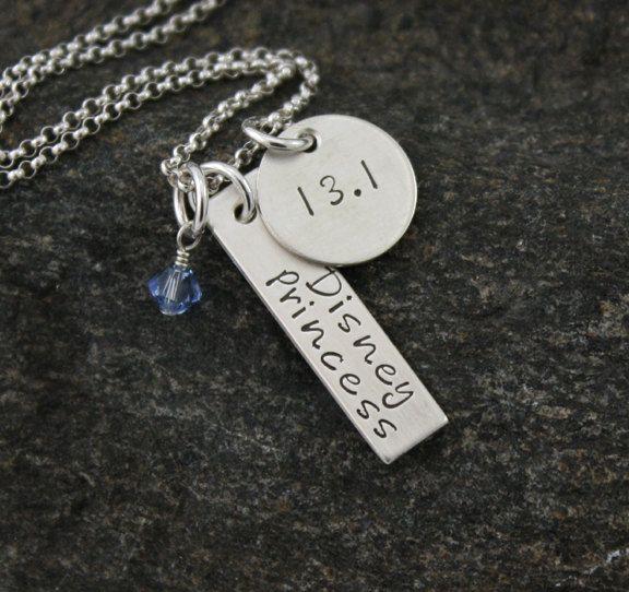 Disney Princess Half Marathon Necklace. Get these made for the girls with gem of their princess color?