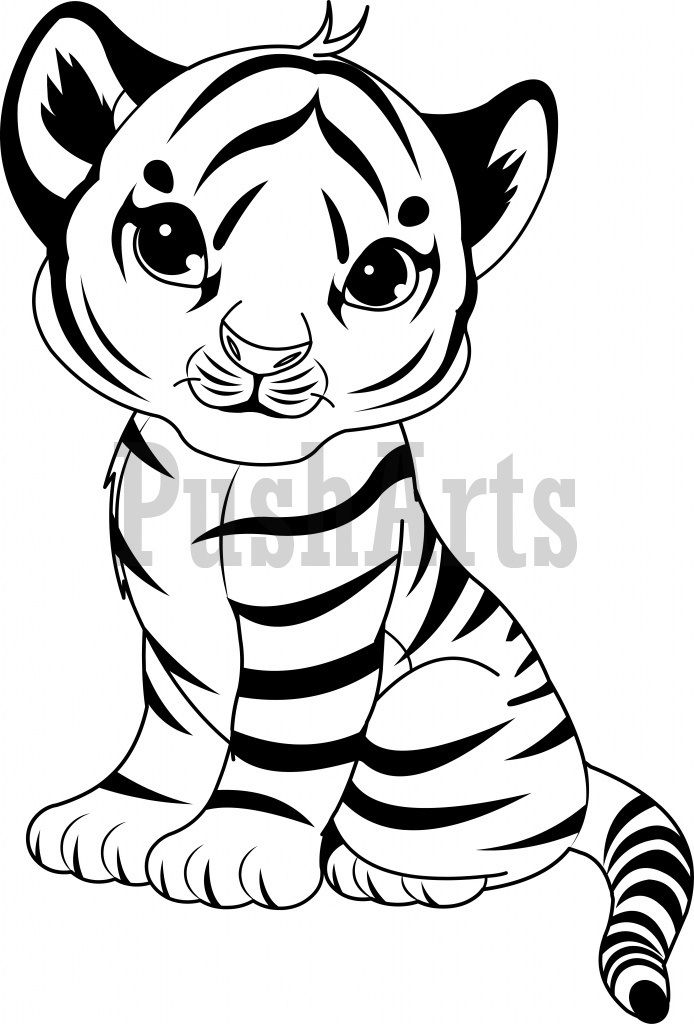 Cute Tiger Cub Coloring Page