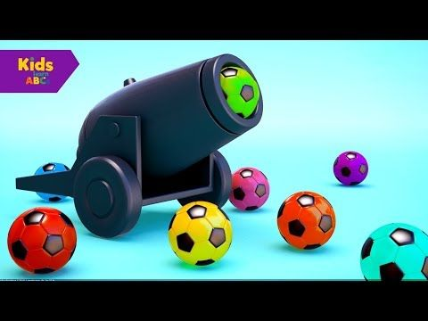 Learn Colors with 3D Balls for Children,Play Cannon Soccer Balls