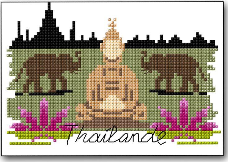 Ses temples, ses plages paradisiaques, ses plats exotiques et sa population accueillante vous feront rêver… L'évocation de son nom suffit à nous procurer une sensation d'évasion. On pense immédiatement à Bouddha, aux éléphants mais aussi au lotus qui est une fleur sacrée en Thaïlande. Ça tombe bien, tous se trouvent sur le diagramme de cette semaine à télécharger ici. Alors, tous à vos fils! Les thaïlandais sont très friands de fleurs, de couleurs vives et produisent de magnifiques types…
