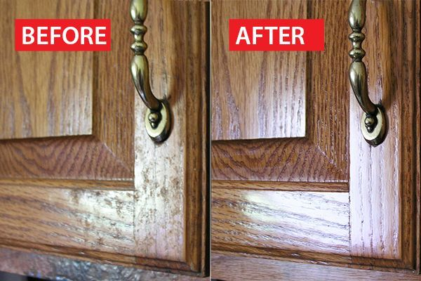 Cleaning build up off your cabinets