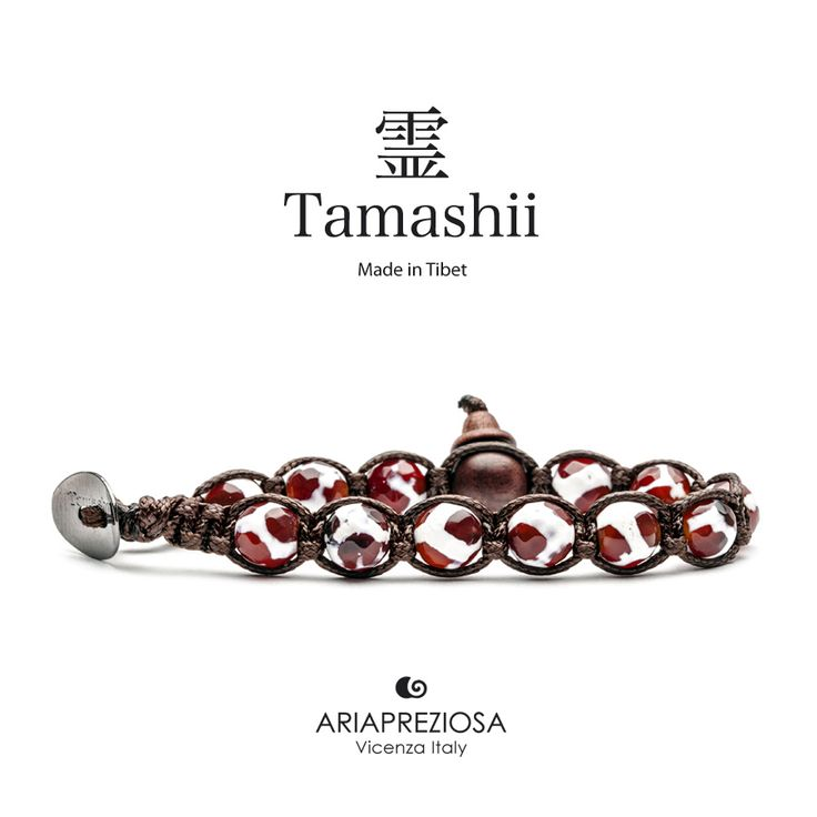 Bracciale originale Tamashii Painted realizzato con pietre naturali CORNIOLA dipinta col. BIANCO.