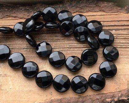 Для украшений ручной работы. Ярмарка Мастеров - ручная работа. Купить Оникс черный 14 мм монета огранка крупные бусины камни для украшений. Handmade.