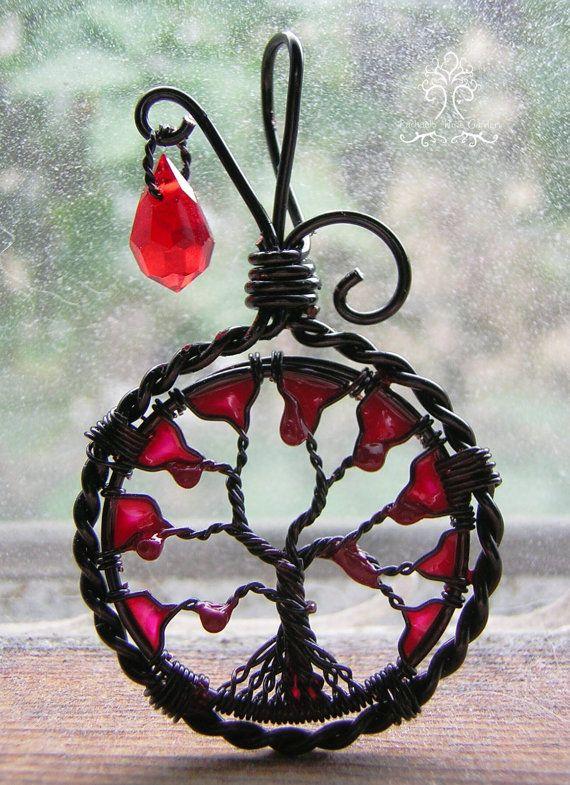 Halloween Vampire inspiré arbre de vie fil gainé pendentif bijoux cristal de Swarovski rouge sang