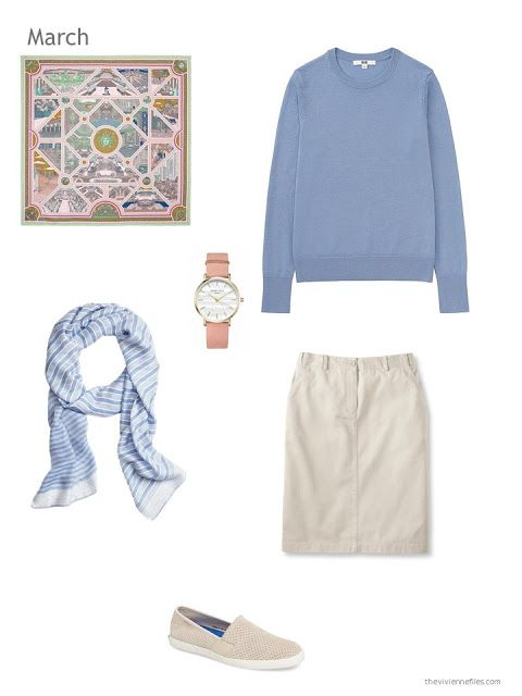 blue and beige skirt outfit with scarf, watch and canvas shoes