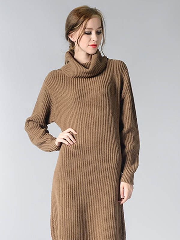 39627965e1 Vinfemass Solid Color Loose High Neck Knit Sweater Dress