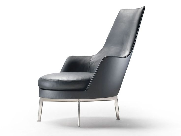 High-back upholstered leather armchair with armrests Guscioalto Collection by FLEXFORM | design Antonio Citterio