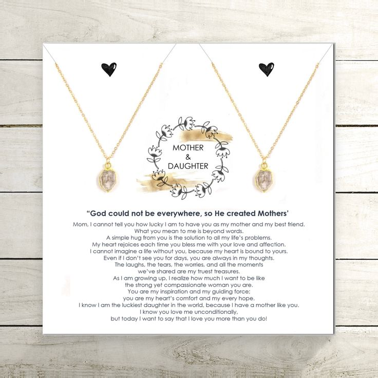 Mother Daughter Necklace Set with Card / Raw Herkimer Diamond Necklace / Jewelry for Two / Inspirational Gift Idea