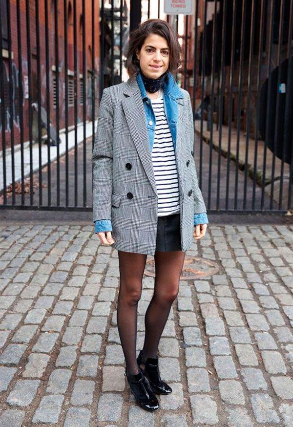 Sobreposição: blazer vintage + jaqueta jeans