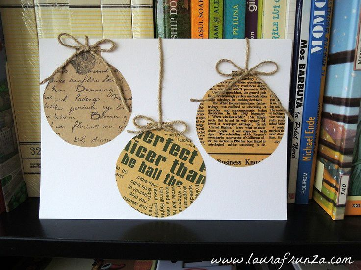 Greeting card with baubles made from craft paper
