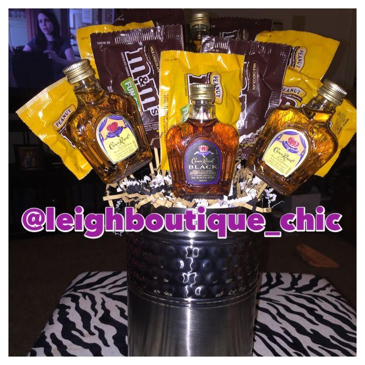 Crown Royal & M&M liquor gift basket.