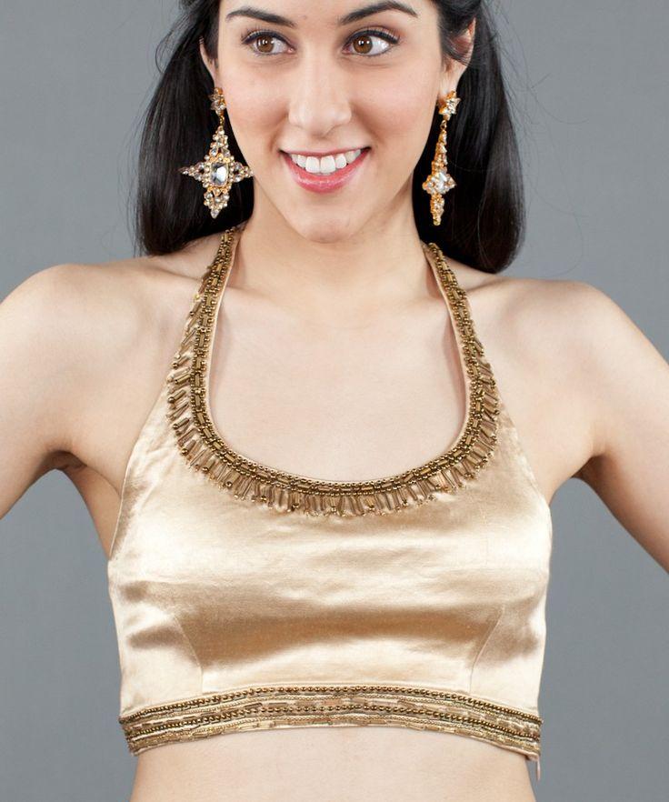 Light Gold Stretch Satin Halter by Kavita Bhartia. Buy: $138 #Luxemi #KavitaBhartia