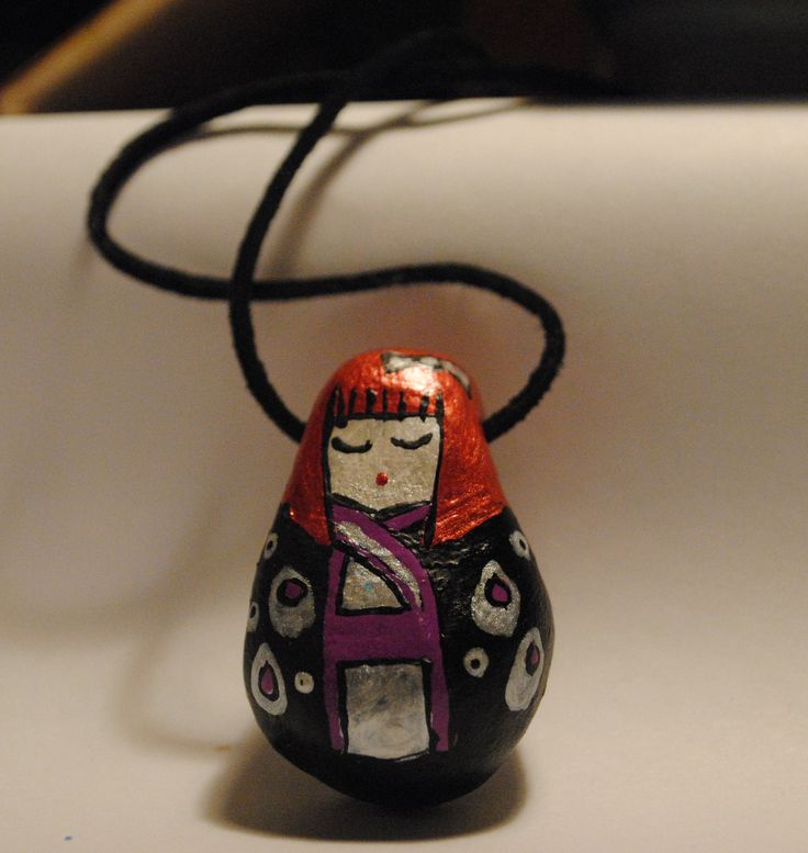 kokeshi doll necklace using air dry clay