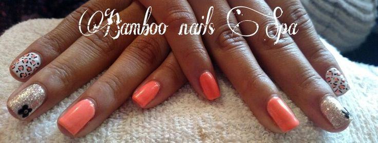 Gelish decorado en naranja fosforescente bamboo nails Spa vicky 4422068757