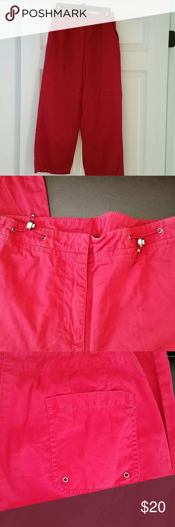 Ann Taylor Loft red crop pants Cute and comfy red Ann Taylor Loft crop pants with adjustable waist Ann Taylor Loft  Pants Capris