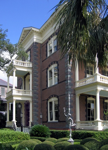 the Calhoun Mansion is the largest residence in Charleston and has 35 rooms and 35 fireplaces, a grand ballroom and Japanese water gardens; the interior of this house was used as Allie's house in the movie, The Notebook and the exterior was Boone Plantation
