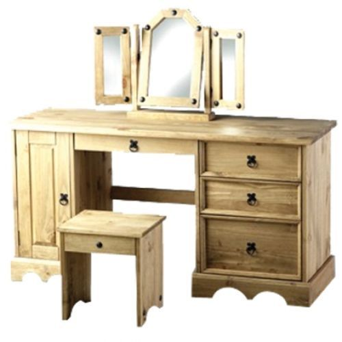 CORONA MEXICAN PINE DRESSING TABLE WITH MIRROR AND STOOL / BEDROOM