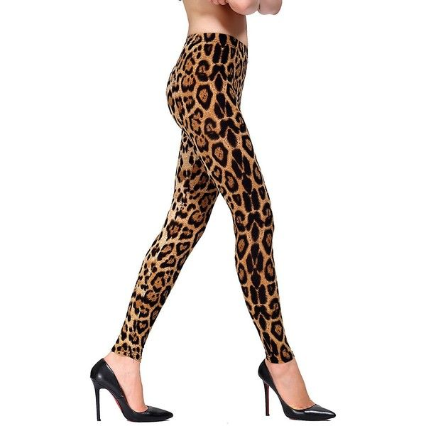Rikki Women's Elastic Large Leopard Print Gradual Change Leggings ($9.99) ❤ liked on Polyvore featuring pants, leggings, leopard print pants, leopard leggings, white leggings, white legging pants and leopard pants