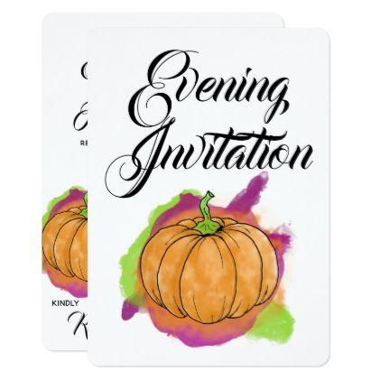 Pumpkin Evening Invitation - autumn wedding diy marriage customize personalize couple idea individuel