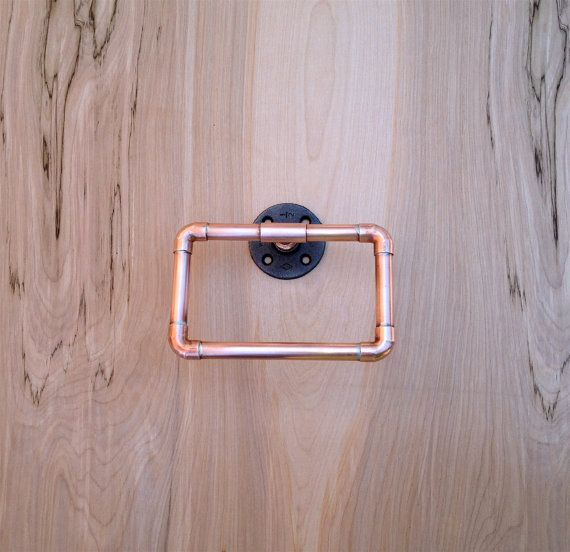 Industrial Towel Ring, Copper Pipe Hand Towel Loop, Modern Industrial Steampunk Design, Rustic Decor, Tea Towel, Modern Bathroom Accessories