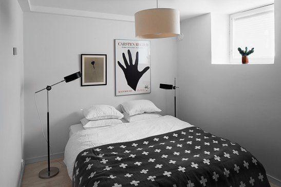 Sovrum lampa konst sängkläder
