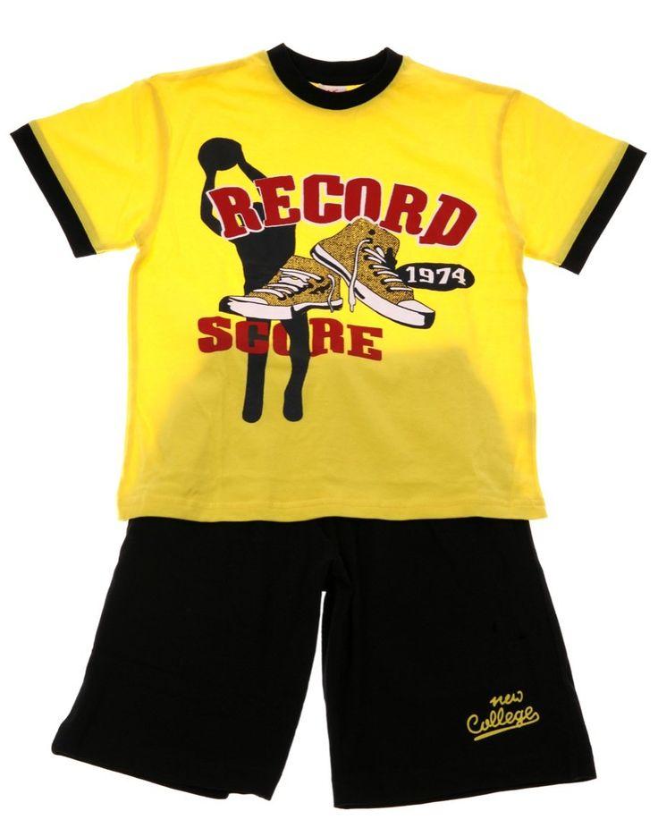 Παιδικά ρούχα AZshop.gr - New College παιδικό σετ μπλούζα-παντελόνι βερμούδα «Record Score» €13,50