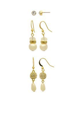 Kim Rogers  Gold-Tone Sensitive Skin Pearl Stud and Drop Trio Earring Set
