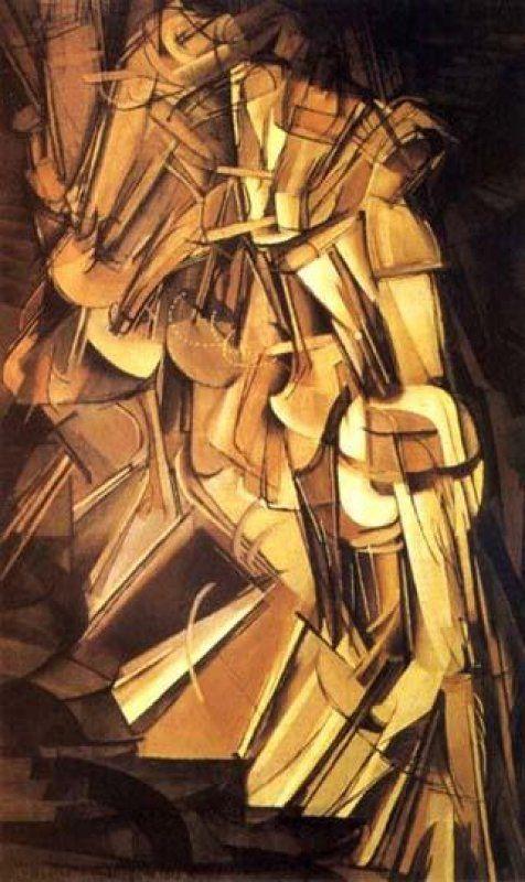 Opdracht 3: Marcel Duchamp - naakt dat de trap afdaalt (1912) Abstractie Onderwerp: Een naakte persoon die gestaag de trap afdaalt waarbij steeds de vorige treden zichtbaar zijn. De beweging wordt aangegeven met een stippenlijn. Affect: Dit schilderwerk brengt een kalmerend effect met zich mee. De mens wordt bijna afgebeeld als machine. Product: Olieverf op doek