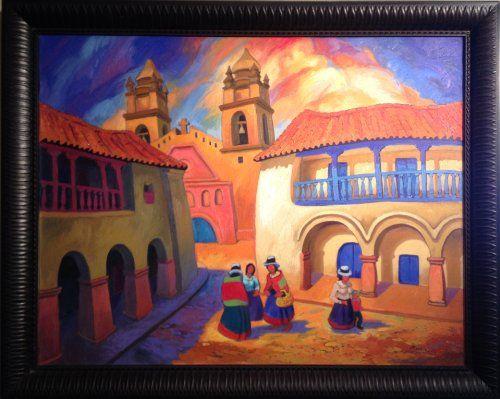 """""""Plaza de Armas de Ayacucho"""" by Peruvian painter Juan de la Cruz Machicado available at Columbine Gallery on Amazon Fine Art"""