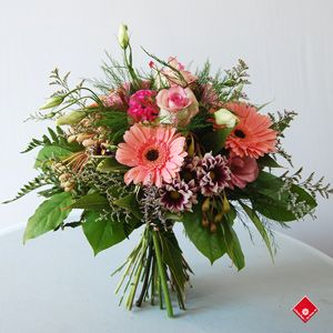 Handtied French Bouquet Featuring Rose,  Gerbera, Daisy and Lisianthus