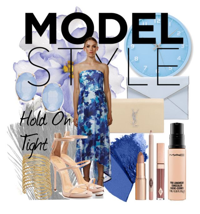 """""""Langhem Hold on Tight Electric Blue Party dress"""" by swishclothing-official on Polyvore featuring Lemnos, Universal Lighting and Decor, Urban Decay, Rebecca Minkoff, Cara, Yves Saint Laurent, Giuseppe Zanotti, MAC Cosmetics, women's clothing and women's fashion"""