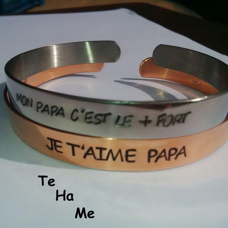 Bracelet jonc gravé personnalisable laiton, inox ou cuivre pour homme : Bijoux pour hommes par te-ha-me