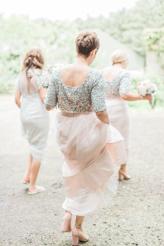 38 Chic And Trendy Bridesmaids' Separates Ideas: blush maxi skirts and silver short-sleeve tops