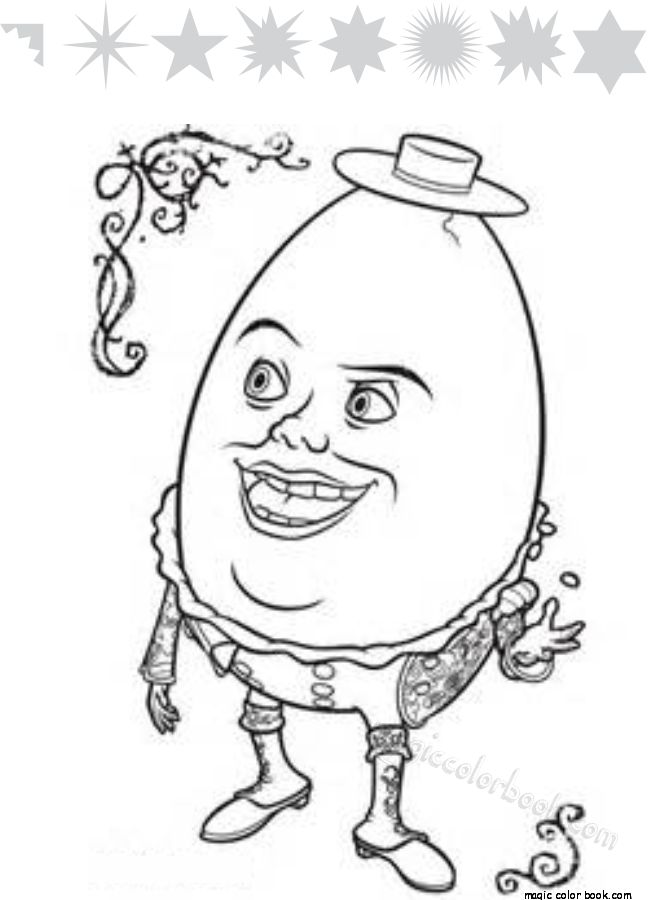 Humpty Dumpty Shrek Coloring Pages Colouring Embroidery Patterns Colour Book Baby Quilts Free Printable To Color