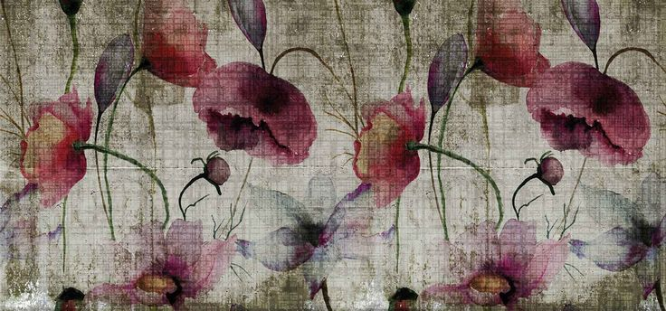 Panoramic wallpaper with floral pattern POPPIES Watercolor Collection by N.O.W. Edizioni