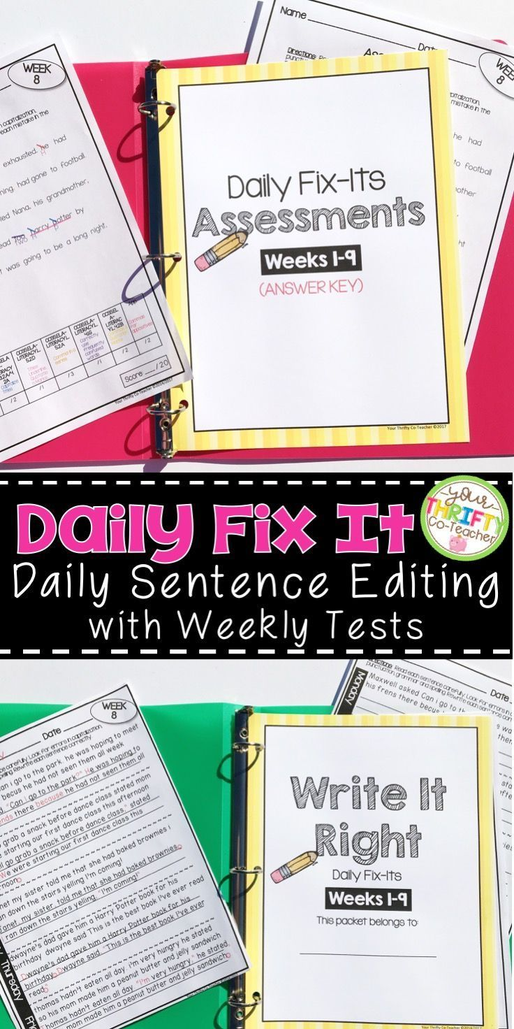 Daily doses of grammar to help students master grammar skills. An ENTIRE SCHOOL YEAR of paired sentences to be edited each day (36 weeks), Weekly Editing Assessments & Answer Keys. Every week, a new grammar concept is introduced and incorporated in this packet.