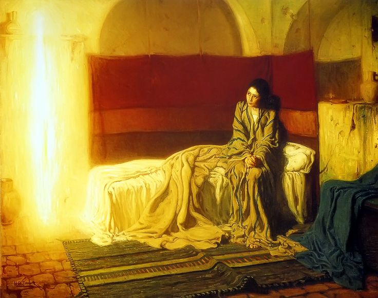 The Annunciation--what a contrast between what must have been a tumultuous, chaotic moment in Mary's mind and the trust/peace brought on by the warmth of God