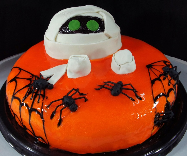 cake pastry cakes bakery mummy orange white spider - Halloween Bakery Ideas