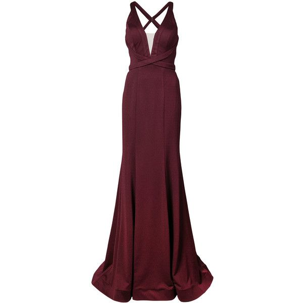 La Femme plunge neck fishtail gown ($325) ❤ liked on Polyvore featuring dresses, gowns, purple ball gowns, long ball gowns, sleeveless long dress, long evening dresses and long gown